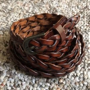 Brown skinny leather woven belt